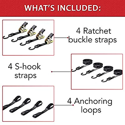 (8 Pack) 4 Ratchet Tie Down Straps with S-Hooks + 4 Soft Loops - Heavy Duty, 1 Inch x 15ft - Designed for Everyday Use, Easy to Secure and Release - 500LBS Load Capacity 1500LBS Break Strength.
