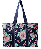 N. Gil All Purpose Organizer 18'' Large Utility Tote Bag (Sea Turtle Navy Blue)