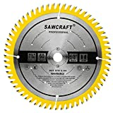 Sawcraft 7 1/4' 60 Tooth Ultra Fine Finish Saw Blade, 5/8' Arbor Ripping & Crosscutting Woodworking Circular Saw Blade with Punched Noise Silencer Slots