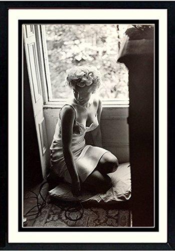 Framed Poster Lingerie (Marilyn Monroe Sexy Pose Lingerie Framed Sam Shaw Photograph Poster Print 20x25)