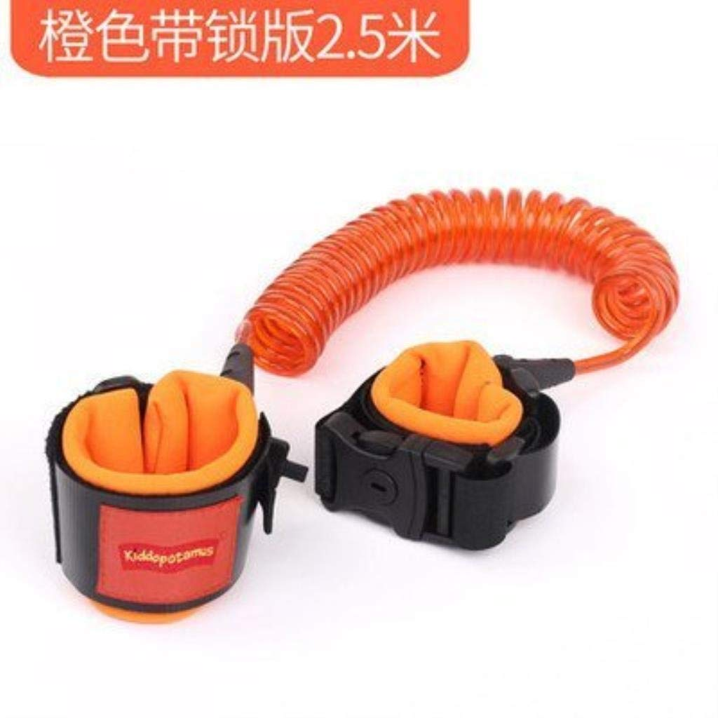 Anti Lost Safety Wrist Strap, Baby Harness and Reins for Toddlers Walking Security Lock Retractability Wrist Link Belt Set Blue Traveling Shopping Helper (Color : Orange 2.5 m+lock)