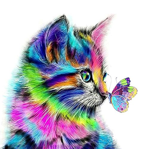 Lavany 5D Diamond Painting DIY Kit,Full Drill 5D Crystal Rhinestone Diamond Embroidery Paintings by Number Kits Arts Craft for Home Wall Decor,Color Cat Butterfly (C40x40cm)
