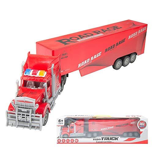 l Big Rig Transport Long Haul Truck Hauler Trailer Tractor for Children (Red) ()