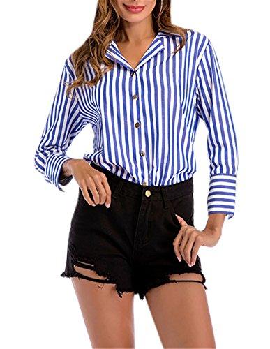 Maglietta Elegante Allentato Righe Dondonmin A Classico Blue Donna Tunica Camicetta T Scollo Casuale Shirt Risvolto Blusa Modo Top 7wwq5R