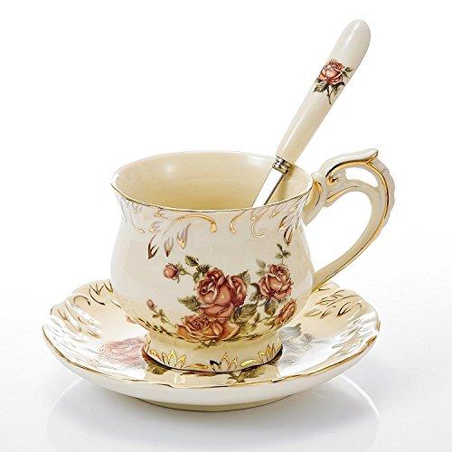 Panbado Ivory Porcelain Cup and Saucer Set of 8.5 oz / 4.5