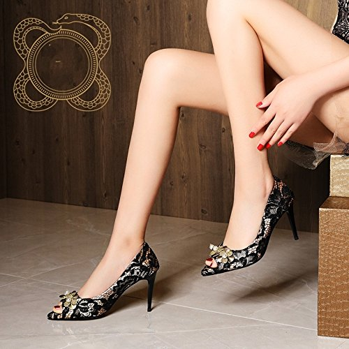 Pearls High water Mouth Court Sandals Women Shoes Shoes Lace Heeled Summer Shoes Female Pumps HUAIHAIZ Single Black High Heels Fish Drill fwAq88F4
