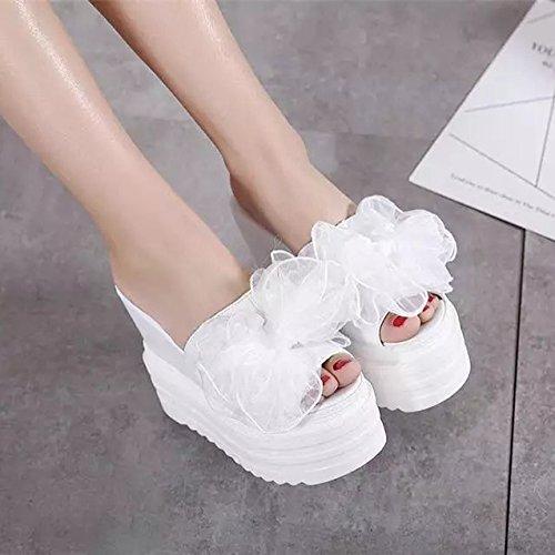 fresco centímetros Blanco de con alto XiaoGao de 12 flores y tacon zapatillas decorado SPxq57