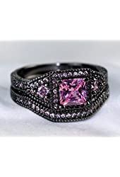 Gy Jewelry Vintage Princess Pink Sapphire Black Gold Filled Women's Wedding Ring Sets Engagement Gifts