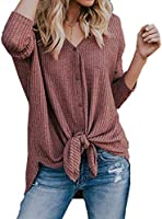 Womens Waffle Knit Tunic Blouse Tie Knot Henley Tops Long Sleeve Button Down Front Bat Wing Plain Shirts