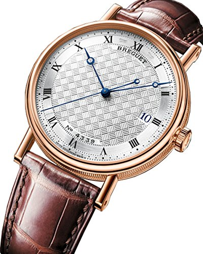 Breguet Classique Silver Dial 18kt Rose Gold Brown Leather Mens Watch 5177BR129V6