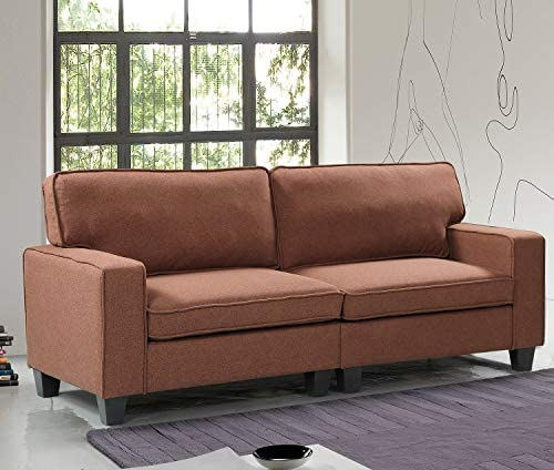 Harper Bright Designs Loveseat Upholstered Sofa Couch Living Room Furniture Sofa Sets Loveseat Couch Brown