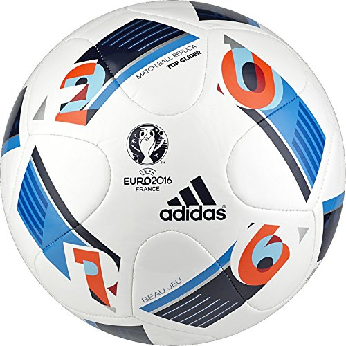 adidas Performance Euro 16 Top Glider Soccer Ball, White/Bright Blue/Night Indigo, 4 (Authentic Football Jersey Sizes)
