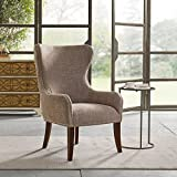 Classic Hancock Button Tufted Back Espresso Finish Accent Chair, 100% Polyester (Camel)