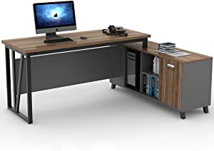 Tribesigns L Shaped Computer Desk, Large Executive Office Desk, 55 Inch Computer Table Workstation with Storage File Cabinet