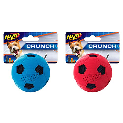 - Nerf Dog 2.5in Soccer Crunch Ball 2-Pack: Blue and Red, Dog Toy