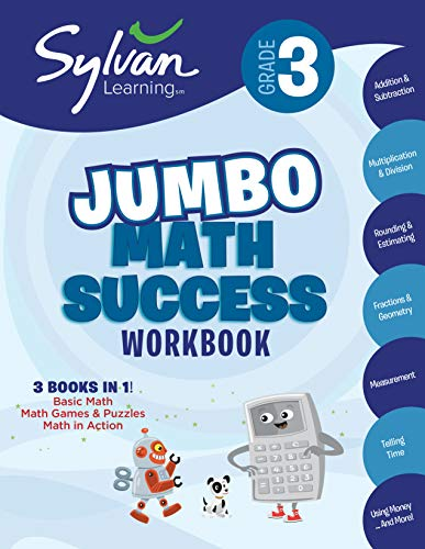 3rd Grade Jumbo Math Success Workbook: Activities, Exercises, and Tips to Help Catch Up, Keep Up, and Get Ahead (Sylvan Math Super Workbooks)
