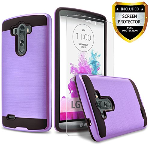 LG G3 Case, 2-Piece Style Hybrid Shockproof Hard Case Cover + Circle(TM) Stylus Touch Screen Pen And Screen Protector (Violet Purple)