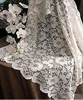 AK Trading 54 Inch Ivory Floral Lace Crochet Square Tablecloth Overlay  Table Cover