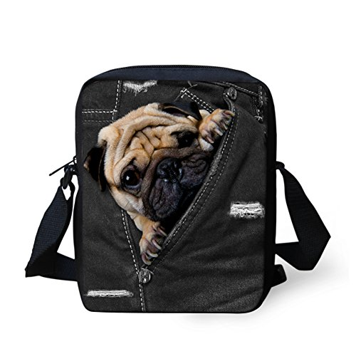Bag Pug - HUGS IDEA Pocket Pug Printed Mini Crossbody Bags Cute Small Shoulder Messenger Bag Purse Cellphone Pouch