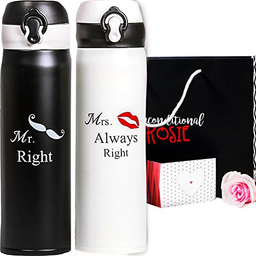 Wedding and Anniversary Gift by Unconditional Rosie - Set of Two Matching Stainless Steel Flasks. These Thermo Set Comes in a Gift Box! Funny, Unique, and Personalized Couples Gifts for Him and Her! (Anniversary Gifts Unique)
