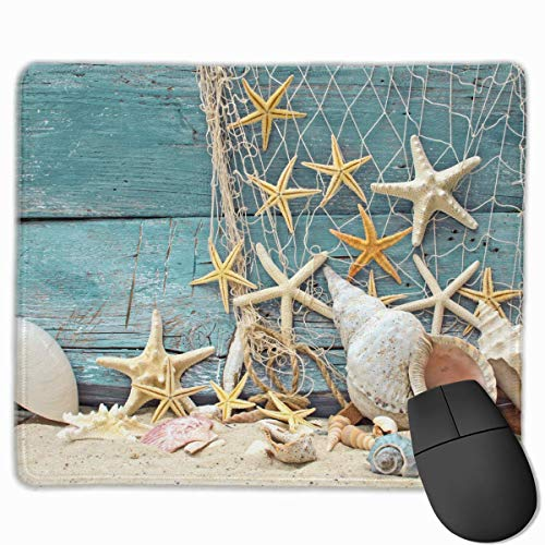 Liliynice Mouse Pads for Computers,Seashells Starfish Print Mouse Pad Non Slip Rubber Backing Gaming Mouse Pad Cute 25X30 cm -