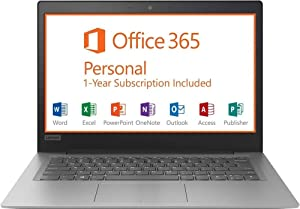 "2019 Lenovo 14"" HD Laptop Computer, Intel Celeron N3350 up to 2.4GHz Processor, 2GB RAM, 32GB eMMC Flash Memory, HDMI, 802.11AC WiFi, Bluetooth 4.0, USB 3.0, 1-Year Microsoft Office 365, Windows 10"