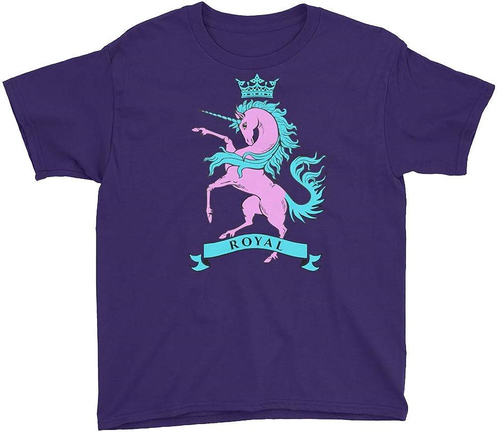 Birthday Party Gift Royal Crown Soft Light Pink Unicorn T-Shirt Girls 100/% Cotton