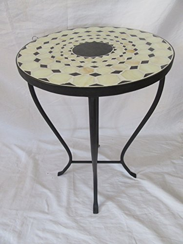 Cheap  Beige / Black Mosaic Black Iron Outdoor Accent Table 21