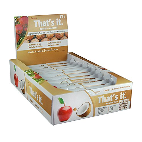 Apple + Coconut That's It. Fruit Bars | 100% Natural Great Tasting Healthy Real Fruit Bar | Vegan, Gluten Free, Paleo, Kosher, Non GMO, 100 Calories, No Preservatives, No Added Sugar | Pack of 12