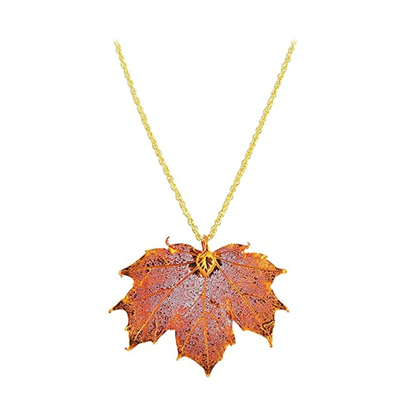 """Gem Avenue Iridescent Copper Plated Real Sugar Maple Leaf Pendant 1mm Rolo Chain Necklace (18"""" - 20"""" Available)"""