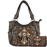 Justin West Embroidery Floral Glitter Bling Rhinestone Cross Shoulder Concealed Carry Handbag Purse Trifold Wallet (Brown Purse Wallet Set)