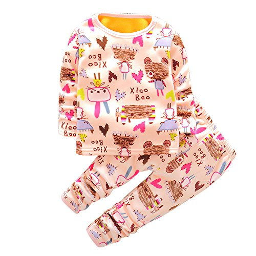 Yaheeda Kids Children Plush Cotton Pajamas T-Shirt and Open-crotch Pants (Kimono Ensemble)