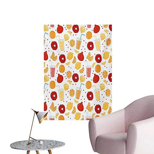 ParadiseDecor Modern Wallpaper Fruits Pomegranate Orange Juice Kitchen Lemon Sweet Yummy Food Artsy IllustrationApricot Ruby W24 xL36 The Office Poster