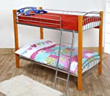 Barcelona Single 3FT Wood & Metal Bunk Bed Frame in Beech - Can Split into 2 Beds