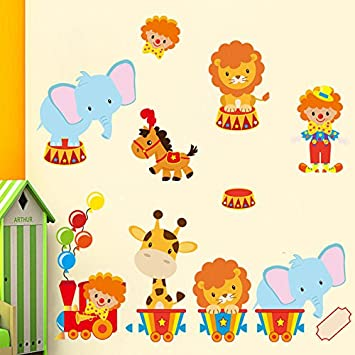 Stickerkoenig Wandtattoo Tiere Zirkus Löwe Wandaufkleber Sticker  Kinderzimmer Baby Tapete Deko Wandsticker Baby Jungen Mädchen Wand