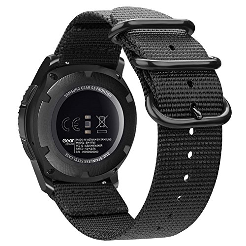 Bands for Galaxy Watch 46mm / Gear S3, Fintie Soft Woven Nylon 22mm Band Adjustable Replacement Sport Strap with Metal Buckle for Samsung Galaxy Watch 46mm / Gear S3 Classic Frontier - Black