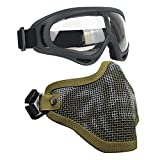 Airsoft Masks- Adjustable Half Metal Steel Mesh Face Mask And UV400 Goggles Set For Hunting, Paintball, Shooting (Tan Skull, 1 Set)