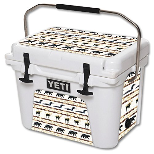 MightySkins (Cooler Not Included) Skin Compatible with YETI Roadie 20 qt Cooler - Lodge Stripes | Protective, Durable, and Unique Vinyl Decal wrap Cover | Easy to Apply | Made - Quart Gear 20