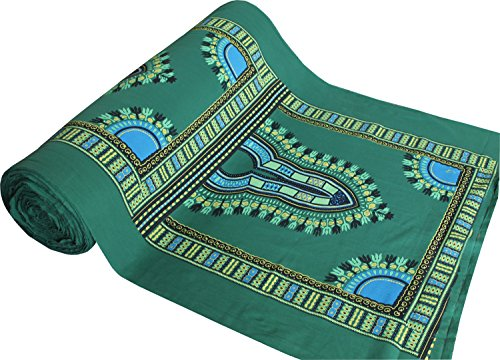 (RaanPahMuang Warm Muang Cotton Fabric with Afrikan Dashiki Pattern 70x40 inch, Forest)