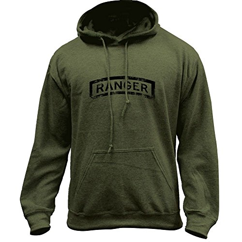 Vintage Army Ranger Badge Subdued Veteran Pullover Hoodie (Medium, Military Green)