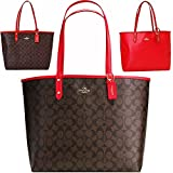 SALE ! New Authentic COACH Signature Reversible LARGE New York City Tote in Brown/Black & Red 'Two Fabulous Looks!'