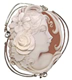 Cameo Pin Pendant Summer Dream, Master Carved, Sardonyx Shell Italian