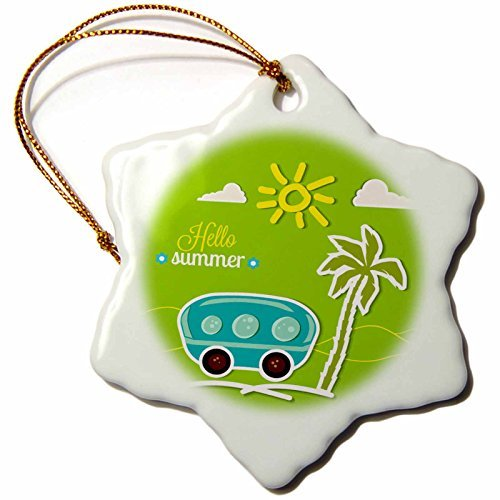 Ornaments to Paint Anne Marie Baugh - Summer - Cute Summer Design With An Aqua Camper and Palm Tree On Green -