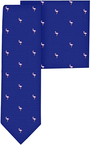 Conjunto corbata estrecha & pañuelo de bolsillo navy con flamencos ...