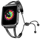 for IWatch Bands,Stainless Steel Cuff Bracelet Replacement Band iWatch Strap Wristbands for Series 3,2,1 (Plumbum Black,38mm)