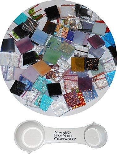 Bullseye Glass Specialty Pre-Cut Fusible Glass Nips Mix and NHC Frit Spoon Set, 90 COE, 1/4 lb