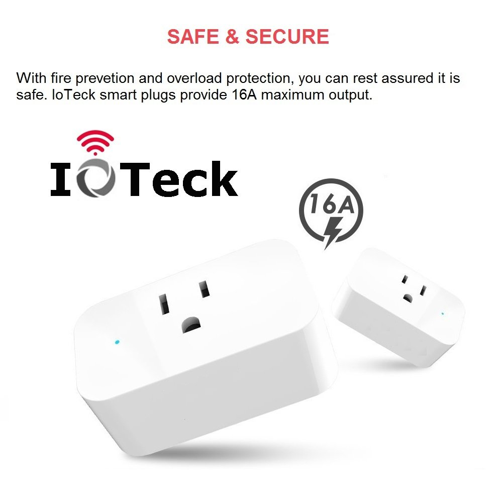 IoTeck Smart Wi-Fi Plug Compatible With Alexa, Echo, Google Home, IFTTT, and Smart Life, Mini Smart Socket with Timer Function, No Hub Required, 15A, 2 Pack by IoTeck (Image #6)