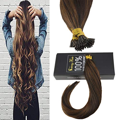 Sunny 20INCH Itip Hair Extensions Human Hair Color #2 Darkest Brown Mixed #8 Light Brown 100% Remy Human Hair I Tip Extensions 50g Per Package