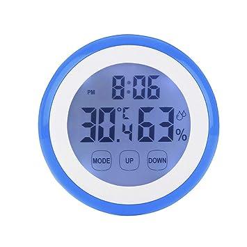 TLMY Termómetro Electrónico para El Hogar, Interior, Despertador Multifunción, Retroiluminación, Pantalla Táctil, Termómetro De Imán Luminoso Reloj de Pared ...