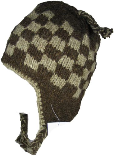 Chullo Ski Hat - WOOL CHULLO FLEECE LINED SKI HAT TOQUE (BROWN AND GREY)